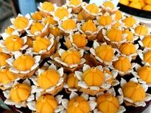 Kanom Jamongkut made from yolk and sugar, Thai dessert Royalty Free Stock Images
