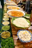 Kanom jeen nam ya, noodles with fish curry sauce,thailand street food royalty free stock photo