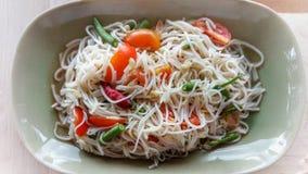 Kanom jeen a salada O kanom de Somtam jeen Alimento tailandês - fritada #6 do Stir Imagens de Stock Royalty Free