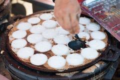 Kanom Krok lub Tajlandzki Pancak, deser Tajlandzki tradycyjny grylaż Obraz Royalty Free