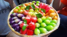 Kanom Look Choup. Deletable Imitation Fruits Stock Photo