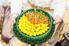 Kanom look choup on tray with pedestal. Kanom look choup colorful Imitation Fruits thai dessert on tray with pedestal royalty free stock photos