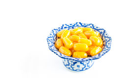 Kanom med Kanoon on white background. The Thai desserts from Thai green peanut paste Royalty Free Stock Photos