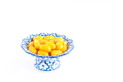 Kanom med Kanoon on white background. The Thai desserts from Thai green peanut paste stock images