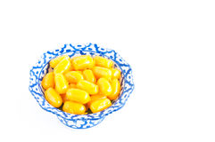 Kanom med Kanoon on white background. The Thai desserts from Thai green peanut paste Royalty Free Stock Images
