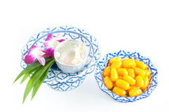 Kanom med Kanoon on white background. The Thai desserts from Thai green peanut paste royalty free stock image