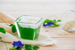 `Kanom Peak Poon Bai Tuey Kati Sod` Thai Sweet. Sweet Pudding, Natural Green Color From Pandan Leaf And Topping With Coconut Milk Cream And Saseme royalty free stock photos