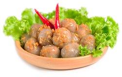 Kanom sago; Thai dessert ; powdery starch from certain sago palm. S stuff with pork Stock Photos