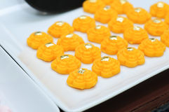 Kanom thong ek. Thong Ek, a kind of sweetmeat symbolizing fame and wealth royalty free stock image