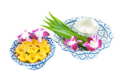 Kanom Thong Yib a traditional Thai dessert. Kanom Thong Yib is an ancient Thai dessert served in auspicious ceremonies stock photo