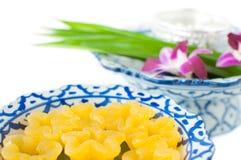 Kanom Thong Yib a traditional Thai dessert. Kanom Thong Yib is an ancient Thai dessert served in auspicious ceremonies stock images