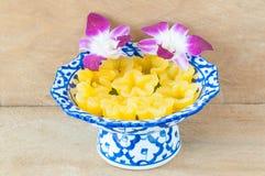 Kanom Thong Yib a traditional Thai dessert. Kanom Thong Yib is an ancient Thai dessert served in auspicious ceremonies royalty free stock photo