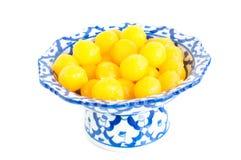 Kanom Thong Yod (gold egg yolks drops). A traditional Thai dessert royalty free stock image