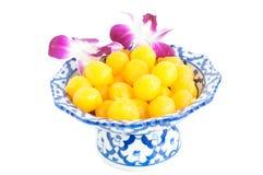 Kanom Thong Yod (gold egg yolks drops). A traditional Thai dessert stock photo