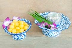 Kanom Thong Yod (gold egg yolks drops). A traditional Thai dessert royalty free stock photo