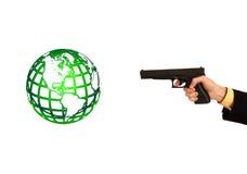 kanon die een groene bol schieten Stock Foto