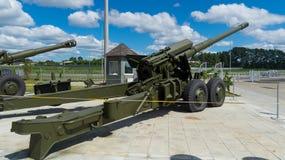 Kanon een houwitser een tentoongesteld voorwerp van een militair museum Stock Foto