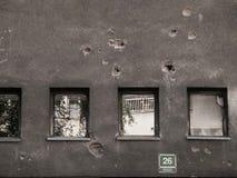 Kanon Geschotene Gaten Sarajevo Stock Afbeeldingen