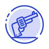 Kanon, Hand, Wapen, het Amerikaanse Blauwe Pictogram van de Gestippelde Lijnlijn royalty-vrije illustratie
