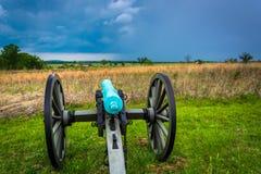 Kanon i ett fält i Gettysburg, Pennsylvania Royaltyfri Fotografi