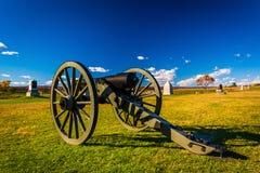 Kanon i ett fält på Gettysburg, Pennsylvania Royaltyfri Bild