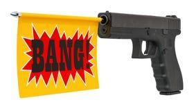 Kanon met een klapvlag het 3d teruggeven stock illustratie