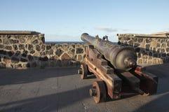 Kanon met houten vervoer Stock Foto