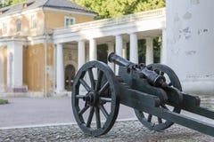 Kanon op een houten vervoer Royalty-vrije Stock Foto