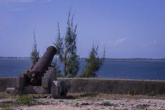Kanon op het fortmuren van Saosebastian Stock Foto