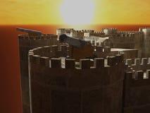 Kanon op middeleeuwse kasteelmuur royalty-vrije stock foto's