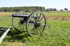 Kanon på den Gettysburg slagfältet Arkivfoto
