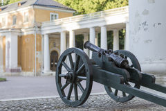 Kanon på en trävagn Royaltyfri Foto