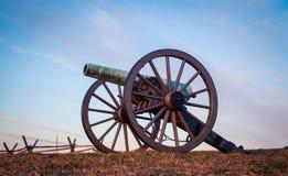 Kanon på soluppgång i Gettysburg Arkivbild