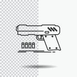 kanon, pistool, pistool, schutter, het Pictogram van de wapenlijn op Transparante Achtergrond Zwarte pictogram vectorillustratie royalty-vrije illustratie
