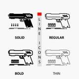 kanon, pistool, pistool, schutter, wapenpictogram in Dunne, Regelmatige, Gewaagde Lijn en Glyph-Stijl Vector illustratie stock illustratie