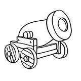 Kanon vectoreps getrokken Hand, Vector, Eps, Embleem, Pictogram, crafteroks, silhouetillustratie voor verschillend gebruik stock illustratie