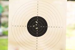 Kanondoel door kogels wordt geschoten die Royalty-vrije Stock Afbeeldingen