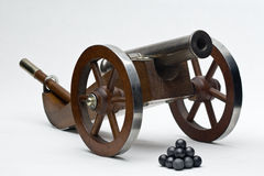Kanone. Model muzzle loader cannon with balls Stock Images