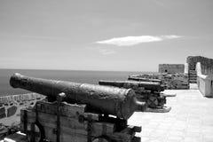 Kanone auf der Wand von Castillo de Sohail Stockfotos