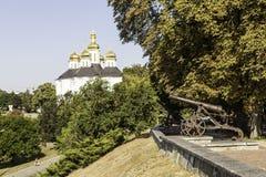 Kanone bei Val Detintsa. Chernihiv. Ukraine Stockbild