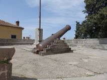 Kanone in der alten Stadt Labin, Istria, Kroatien, Europa Stockfoto