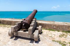 Kanone des Forts San Sebastian Sao Sebastiao, Mosambik-Insel Ilha de Mocambique, Küste des Indischen Ozeans, Mosambik, Nampula stockbilder