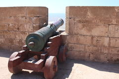 Kanone am Essaouira Schloss, Marokko Lizenzfreies Stockbild