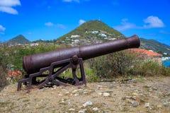 Kanone am Fort Amsterdam, St. Maarten Stockbild
