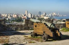 Kanone am La Cabaña Havana stockbild