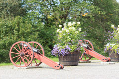 Kanone und Blumenbeet in Stockholm Stockbilder