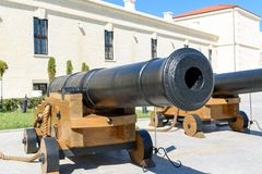 Kanone von der englischen Fregatte lizenzfreie stockfotografie