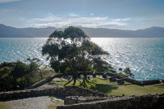 Kanone von Sao Jose da Ponta Grossa Fortress - Florianopolis, Santa Catarina, Brasilien stockbild