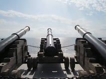 Kanonen Cannons-3, die in Richtung des Meeres im Pathose blicken lizenzfreies stockfoto