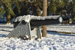 Kanonen på batteriet parkerar, charlestonen, SC Arkivbild